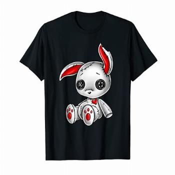 Goth Bunny Cute Gothic White Bunny Red Heart T-Shirt