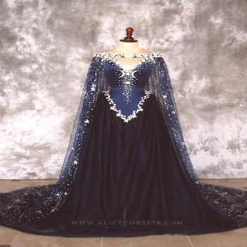 Night Godess Elven Corset Dress ~ Gothic Witch Wedding Gown Fairy Fantasy Bridal Dress Wicca Pagan