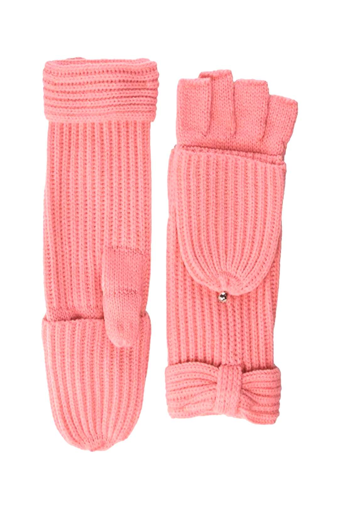 Kate Spade New York Solid Bow Pop Top Mitten (Chilled Apricot) Gore-Tex Gloves For the perfect comp
